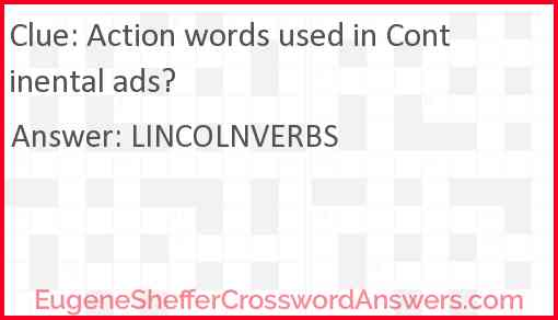 Action words used in Continental ads? Answer