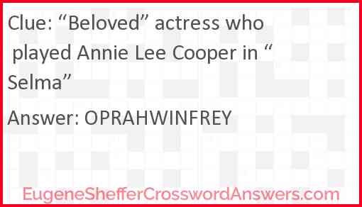 """""""Beloved"""" actress who played Annie Lee Cooper in """"Selma"""" Answer"""