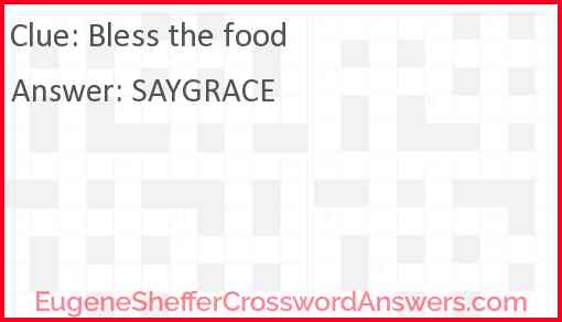Bless the food Answer