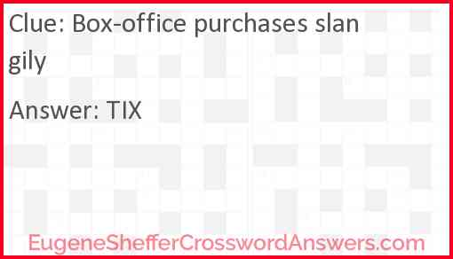 Box-office purchases slangily Answer