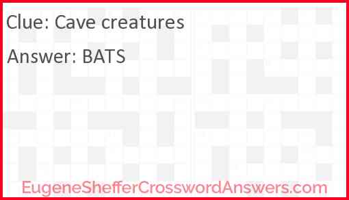 Cave creatures Answer