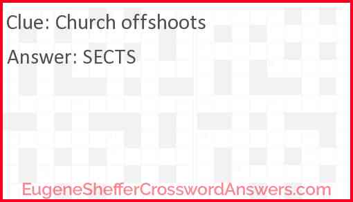 Church offshoots Answer
