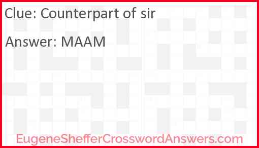 Counterpart of sir Answer