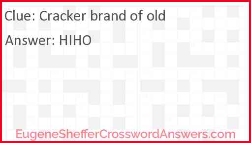 Cracker brand of old Answer