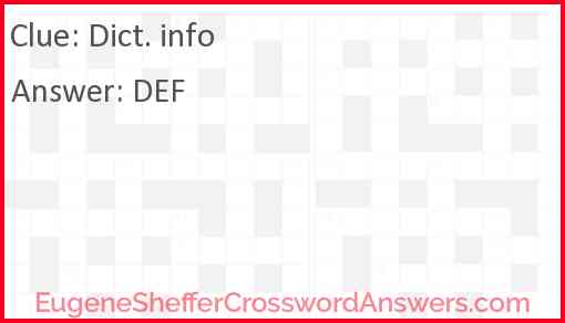 Dict. info Answer