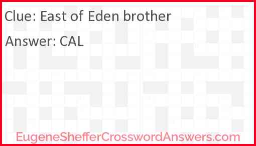 """""""East of Eden"""" brother Answer"""