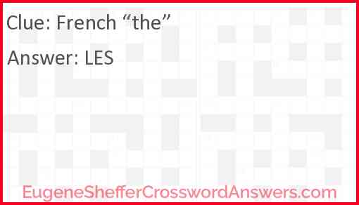 """French """"the"""" Answer"""