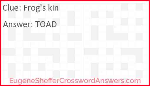 Frog's kin Answer