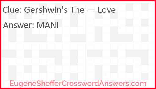"Gershwin's ""The — Love"" Answer"