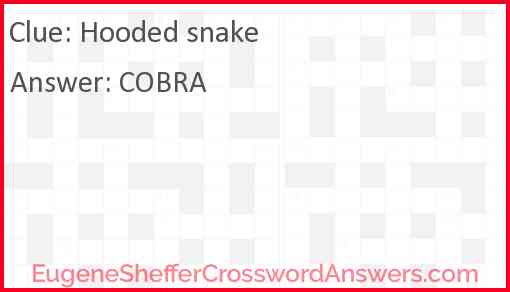 Hooded snake Answer