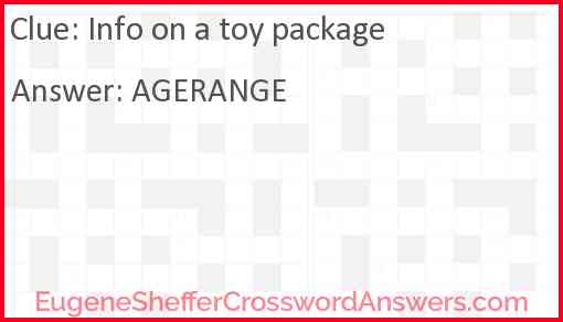 Info on a toy package Answer