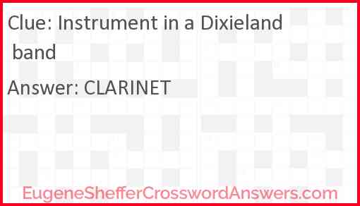 Instrument in a Dixieland band Answer