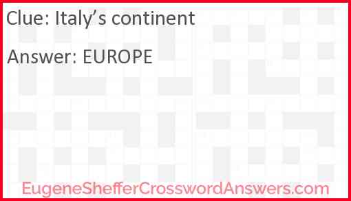 Italy's continent Answer