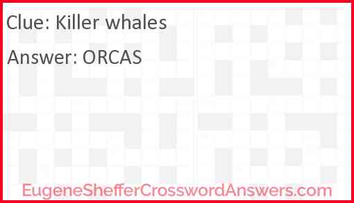 Killer whales Answer