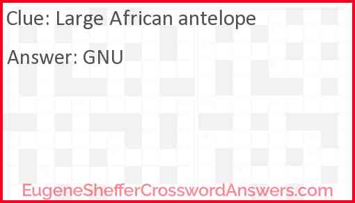 Large African antelope Answer
