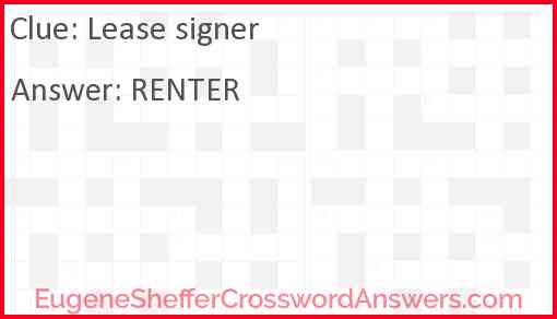 Lease signer Answer