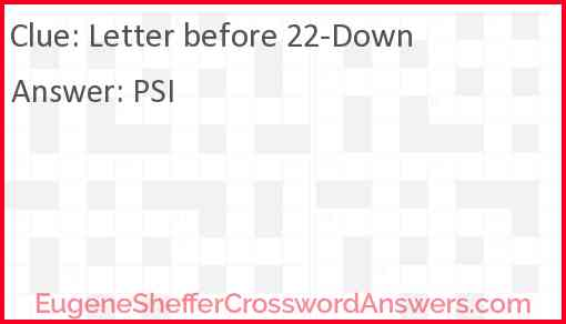 Letter before 22-Down Answer