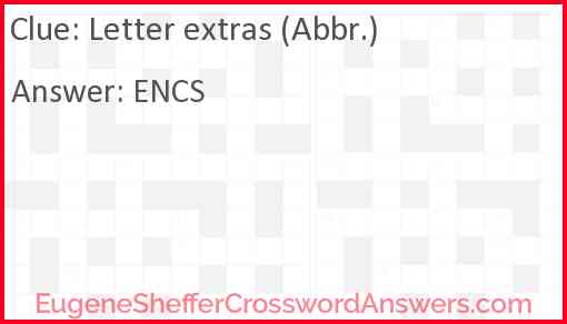 Letter extras (Abbr.) Answer
