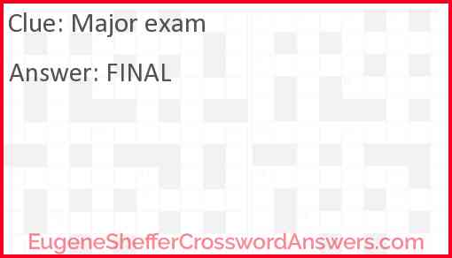 Major exam Answer