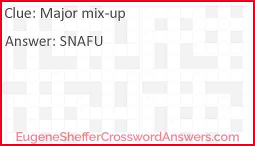Major mix-up Answer