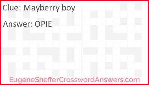 Mayberry boy Answer