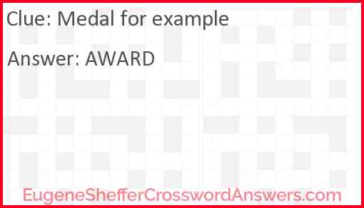 Medal for example Answer