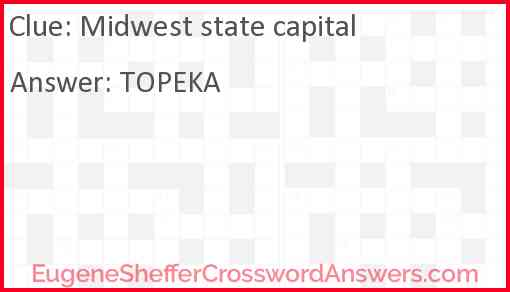Midwest state capital Answer