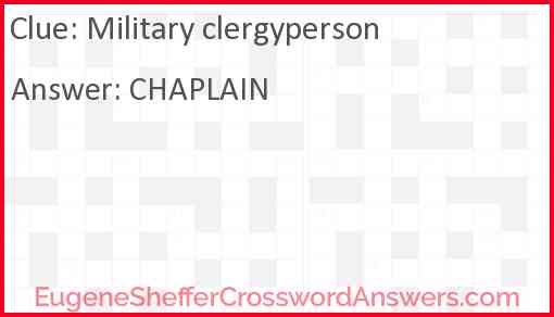 Military clergyperson Answer