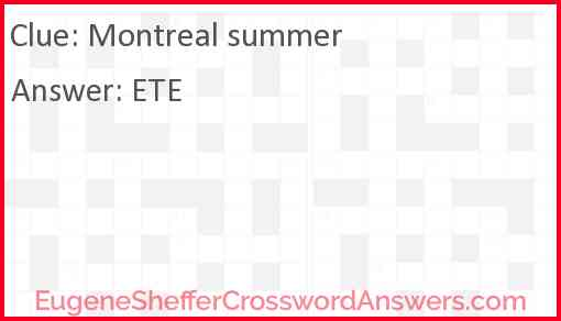 Montreal summer Answer