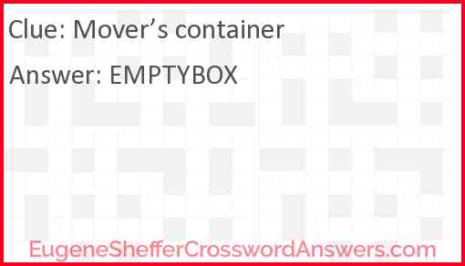 Mover's container Answer