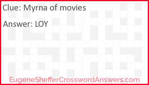 Myrna of movies Answer