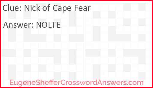 Nick of Cape Fear Answer