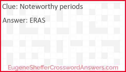 Noteworthy periods Answer