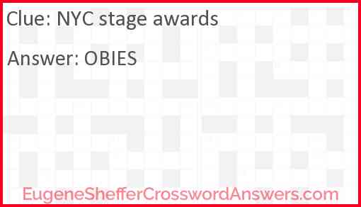 NYC stage awards Answer