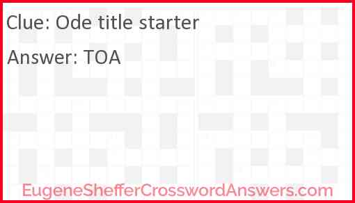 Ode title starter Answer