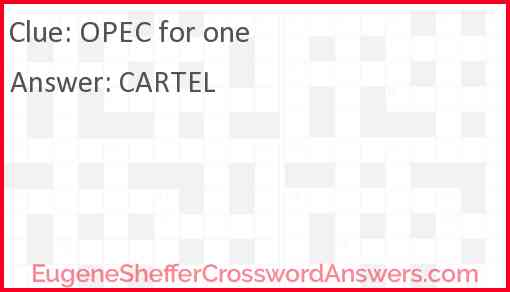 OPEC for one Answer