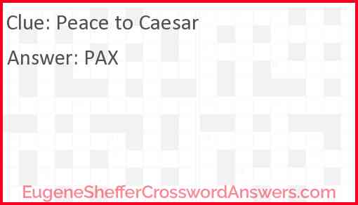 Peace to Caesar Answer