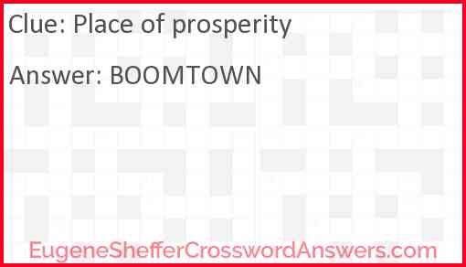 Place of prosperity Answer