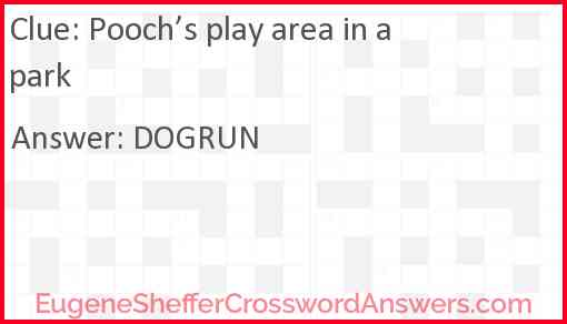 Pooch's play area in a park Answer