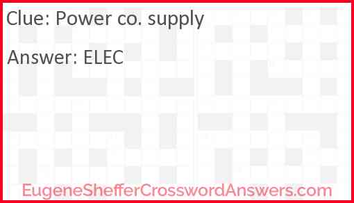 Power co. supply Answer