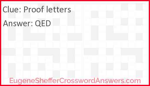 Proof letters Answer
