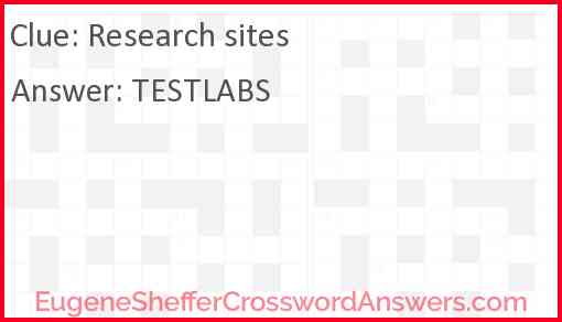 Research sites Answer