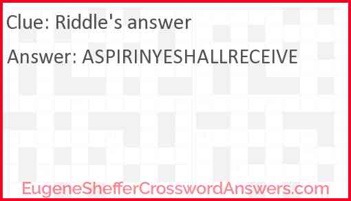 Riddle's answer Answer