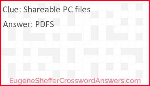 Shareable PC files Answer
