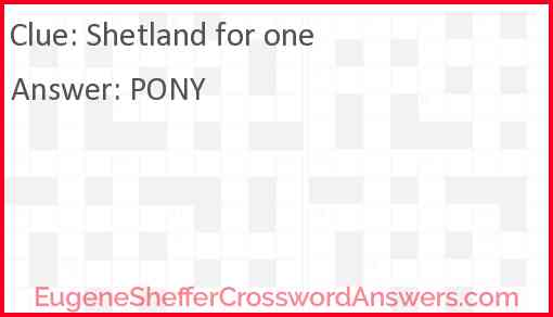 Shetland for one Answer