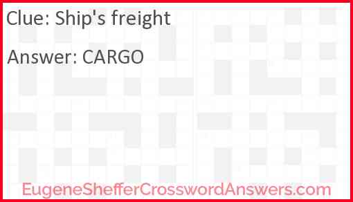 Ship's freight Answer