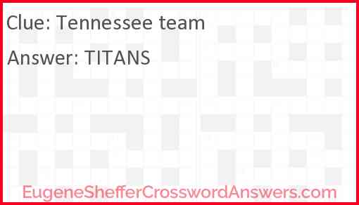 Tennessee team Answer