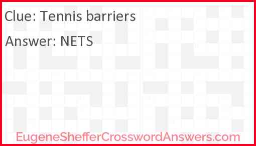 Tennis barriers Answer