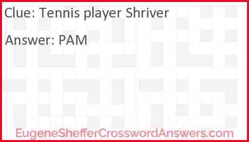 Tennis player Shriver Answer
