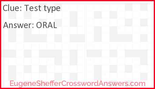 Test type Answer
